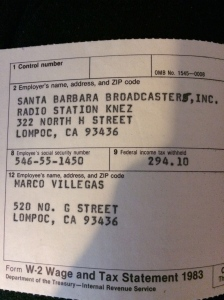 My dad was a famous radio DJ in Ecuador and he found a gig when he was living in California with us.